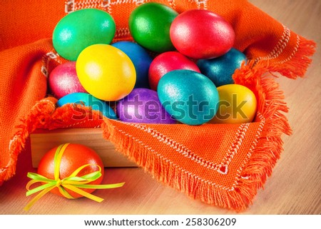 colorful easter eggs on the napkin - stock photo