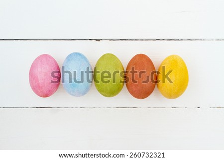 Colorful easter eggs. White background with easter eggs.  - stock photo
