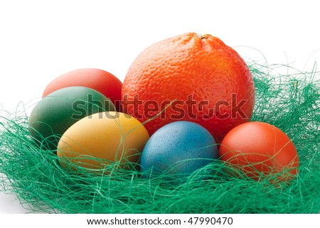 Colorful Easter Eggs with an orange