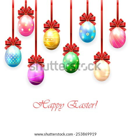 Colorful Easter eggs with bow on white background, illustration. - stock photo