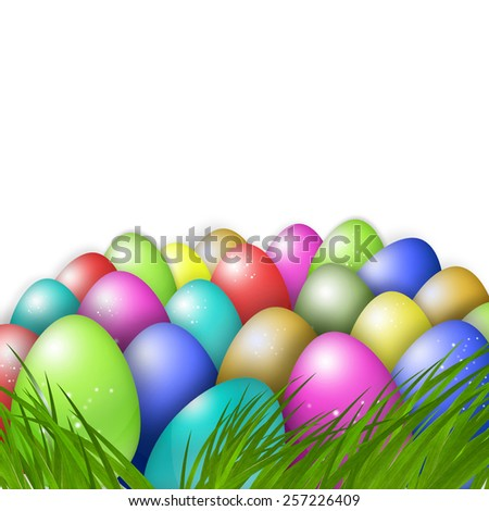 Colorful Easter eggs with green grass illustration background. - stock photo