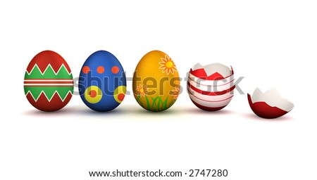 Colorful easter eggs with one broken isolated on white with shadow - stock photo
