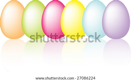 Colorful easter eggs with reflection illustration - stock photo