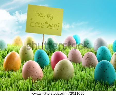 Colorful Easter eggs with sign in a grass field with blue sky - stock photo
