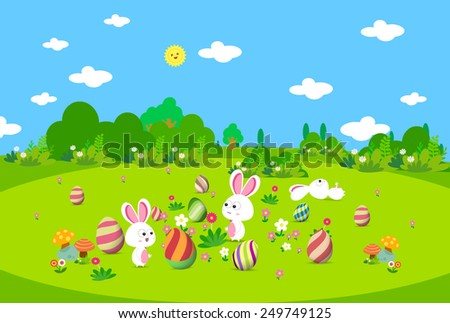 Colorful Easter greeting card with eggs and bunny