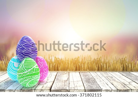 colorful egg for easter day on pastel background - stock photo