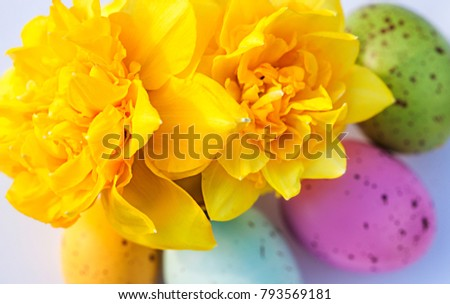 colorful eggs with flowers. Easter concept