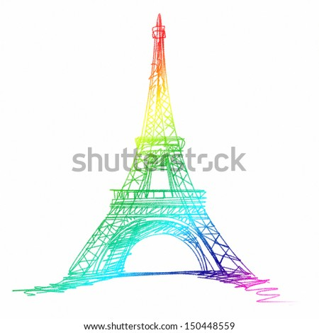 colorful eiffel tower in paris europe