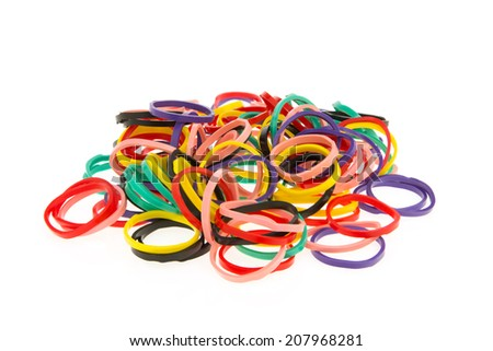 Colorful elastic bands isolated on a white background