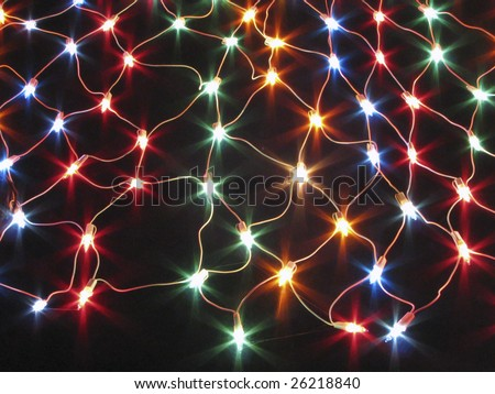 Colorful electric light net - stock photo