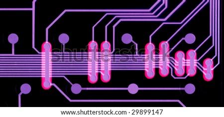 Colorful electronic circuit board - stock photo
