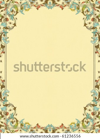 colorful elegant floral decorative framed paper   background. More of this motif & more ornaments in my port. - stock photo