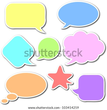 Colorful, empty and blank comic speech bubbles stickers set with white border and shadow on white background - stock photo