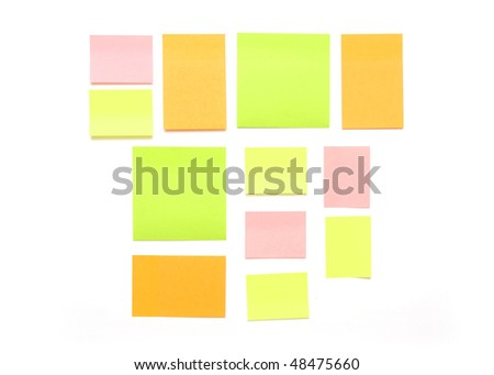 colorful empty notes isolated on white