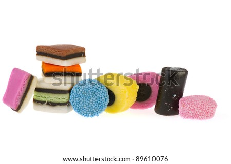 Colorful English licorice candy isolated over white background