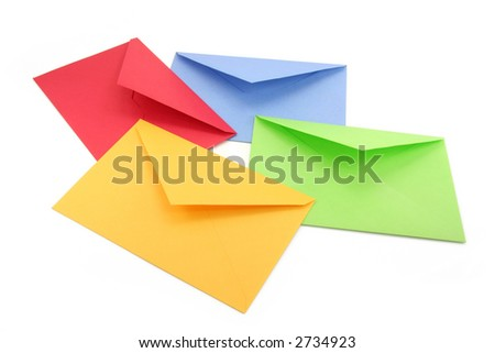 colorful envelopes, concept of communication