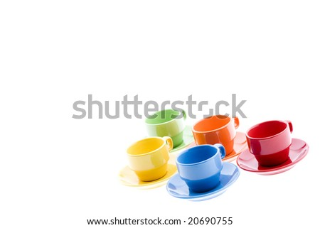 Colorful Espresso Mugs with Platters - stock photo