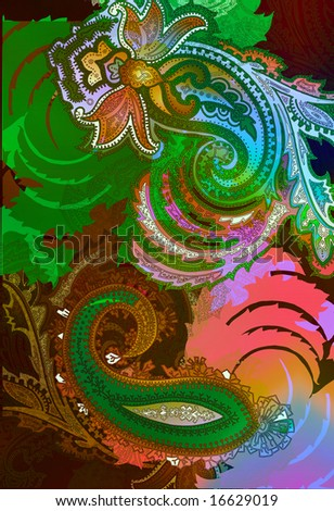 colorful ethnic bohemian paisley motif with watercolor texture - stock photo