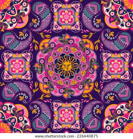 Colorful ethnic ornamental pattern - stock photo