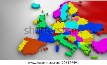 Colorful Europe 3d map, 2014 political distribution  - stock photo