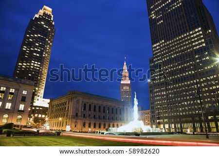 Colorful Evening in downtown Cleveland, Ohio. - stock photo