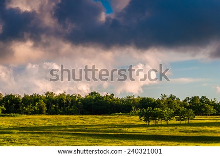 Colorful evening sky over Big Meadows, in Shenandoah National Park, Virginia. - stock photo