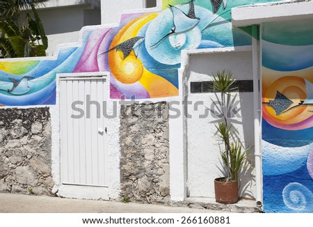 Colorful exterior of the house in San Miguel resort town (Cozumel island, Mexico). - stock photo