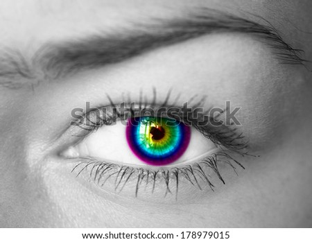Colorful eye close-up.  - stock photo