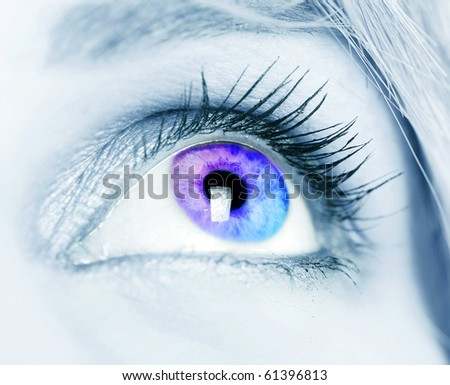 Colorful eye close-up shot - stock photo