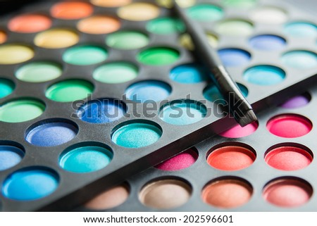 Colorful  eye shadows for best makeup - stock photo