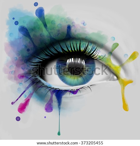 Colorful eye with ink splatters, illustration - stock photo