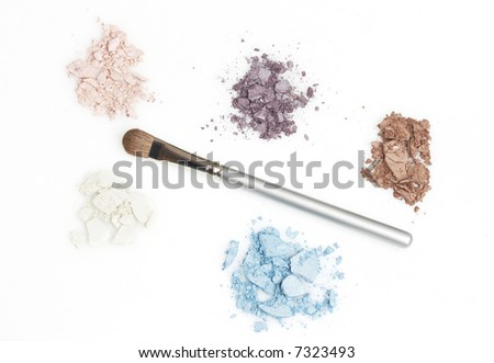colorful eyeshadow and brush