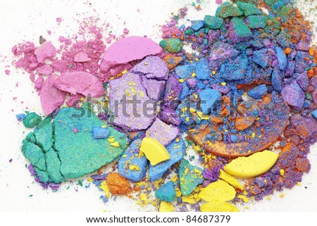 Colorful eyeshadow dust on white background - stock photo