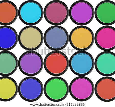colorful eyeshadows in black boxes isolated on white