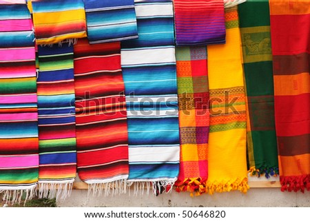 Colorful Fabric at market in Mexico - stock photo