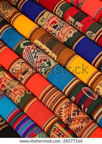 Colorful Fabric at market in Peru - stock photo
