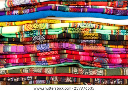 Colorful Fabric at market in Uyuni, Bolivia, South America - stock photo