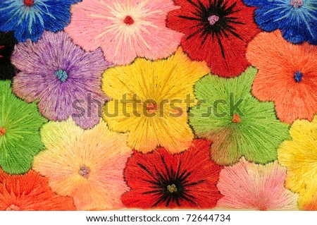 Colorful Fabric flower - stock photo