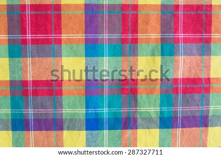 colorful fabric plaid texture. Cloth background - stock photo