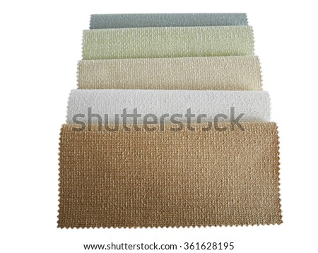 Colorful Fabric samples on white background