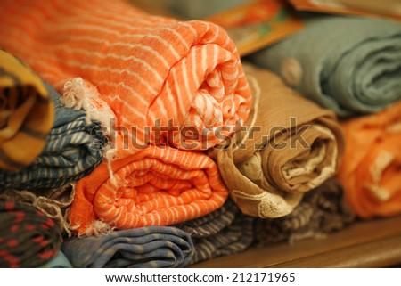 Colorful fabrics background - stock photo
