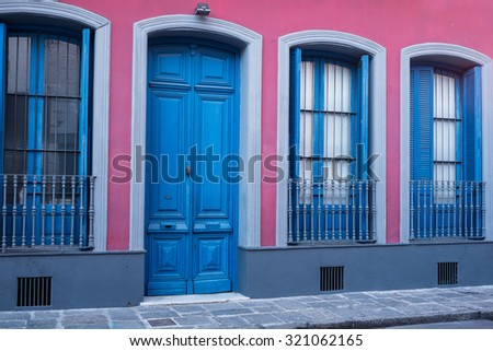 Colorful facade in Montevideo Old Town or Ciudad Vieja - stock photo