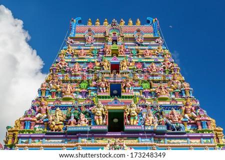 Colorful  facade of a Hindu temple in Victoria, Mahe, Seychelles, also known as ARUL MIHU NAVASAKTHI VINAYAGAR - stock photo