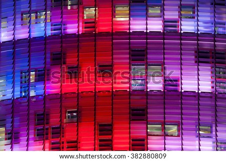 Colorful facade of abstract building - stock photo