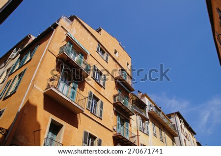 Colorful facade of an old Classic Building in the center of Nice