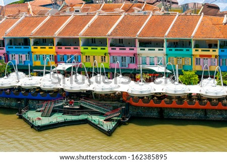 Colorful facade of building in Clarke Quay, Singapore - stock photo