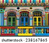 Colorful facade of famous building in Little India, Singapore City, Singapore. - stock photo