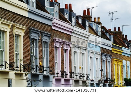colorful facades in Camden, London, UK - stock photo