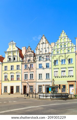Colorful facades of a buildings in Nysa, Poland - stock photo