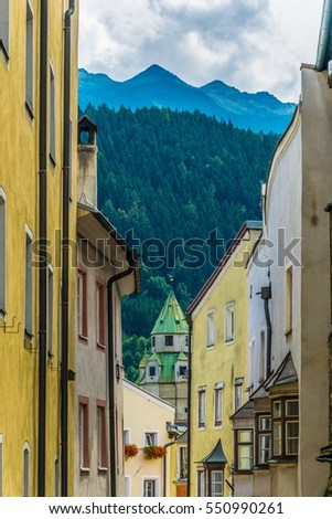 Colorful facades of houses in the Austrian city Hall in Tirol.